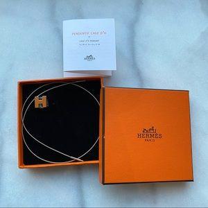 🛍 Hermès Pendentif Cage d'H Orange Necklace